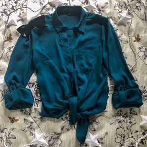 The Limited Marine Blue Button-Up Top